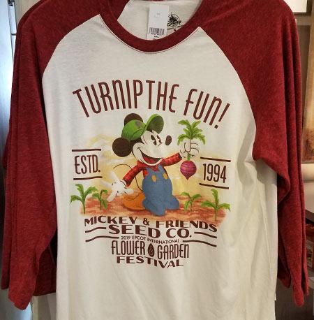 Flower & Garden Festival Mickey's Garden Shed Turnip the Fun Baseball T-shirt | Mouse Memos Disney Blog
