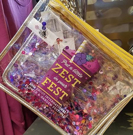 Epcot Flower & Garden Festival Put a Little Zest in Your Fest Clear Glitter Zip Pouch | Mouse Memos Disney Blog