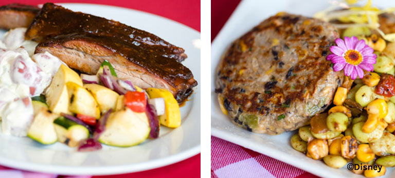 Slow-Smoked Pork Ribs and Fire-Roasted Vegetable Cake with Chipotle Succotash at Woody's Roundup Barbecue Buffet at Disney's Contemporary Resort | Mouse Memos Disney Blog
