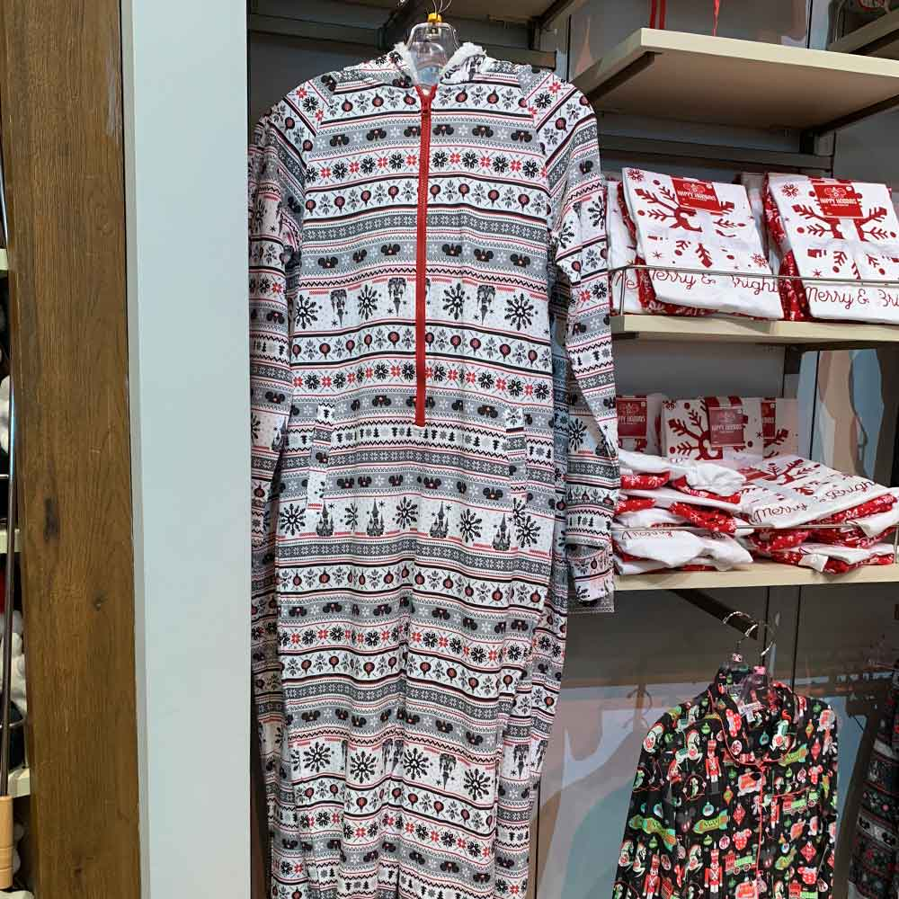 Adult Zip-up Christmas Pattern Onesie from the 2018 Disney Christmas Apparel Collection | Mouse Memos Disney Blog