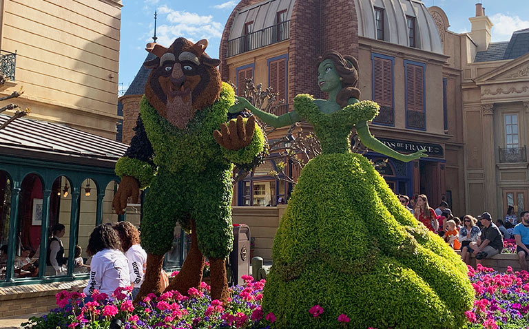 Beauty and the Beast Topiary 2019 Epcot Flower and Garden Festival Topiaries | Mouse Memos Disney Blog