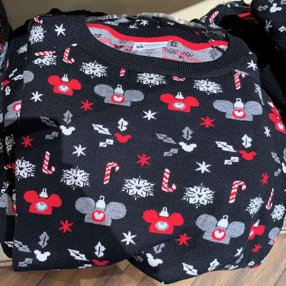 Black Christmas Pattern Sweater from the 2018 Disney Christmas Apparel Collection | Mouse Memos Disney Blog