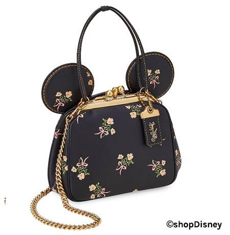 Disney x COACH Minnie Mouse Florals Collection Black Kisslock Leather Bag | Mouse Memos Disney Blog