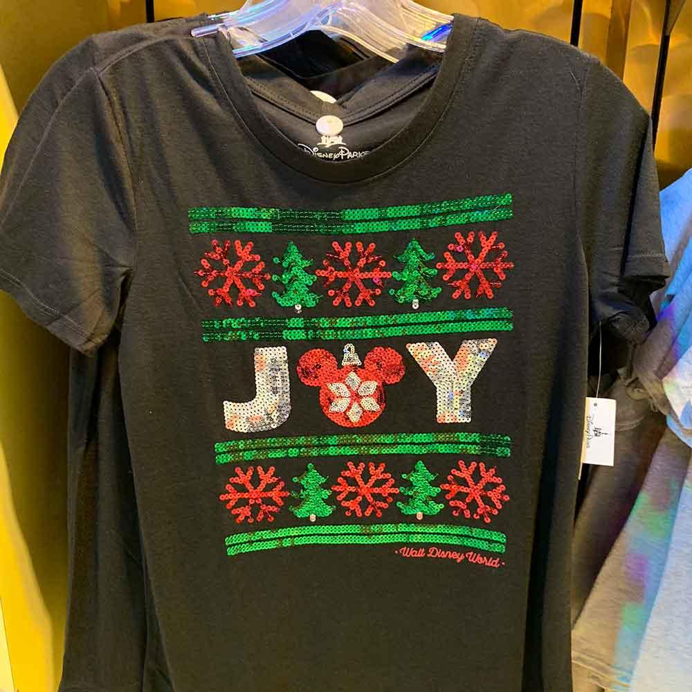 Women's Black Sequin JOY Shirt from the 2018 Disney Christmas Apparel Collection | Mouse Memos Disney Blog