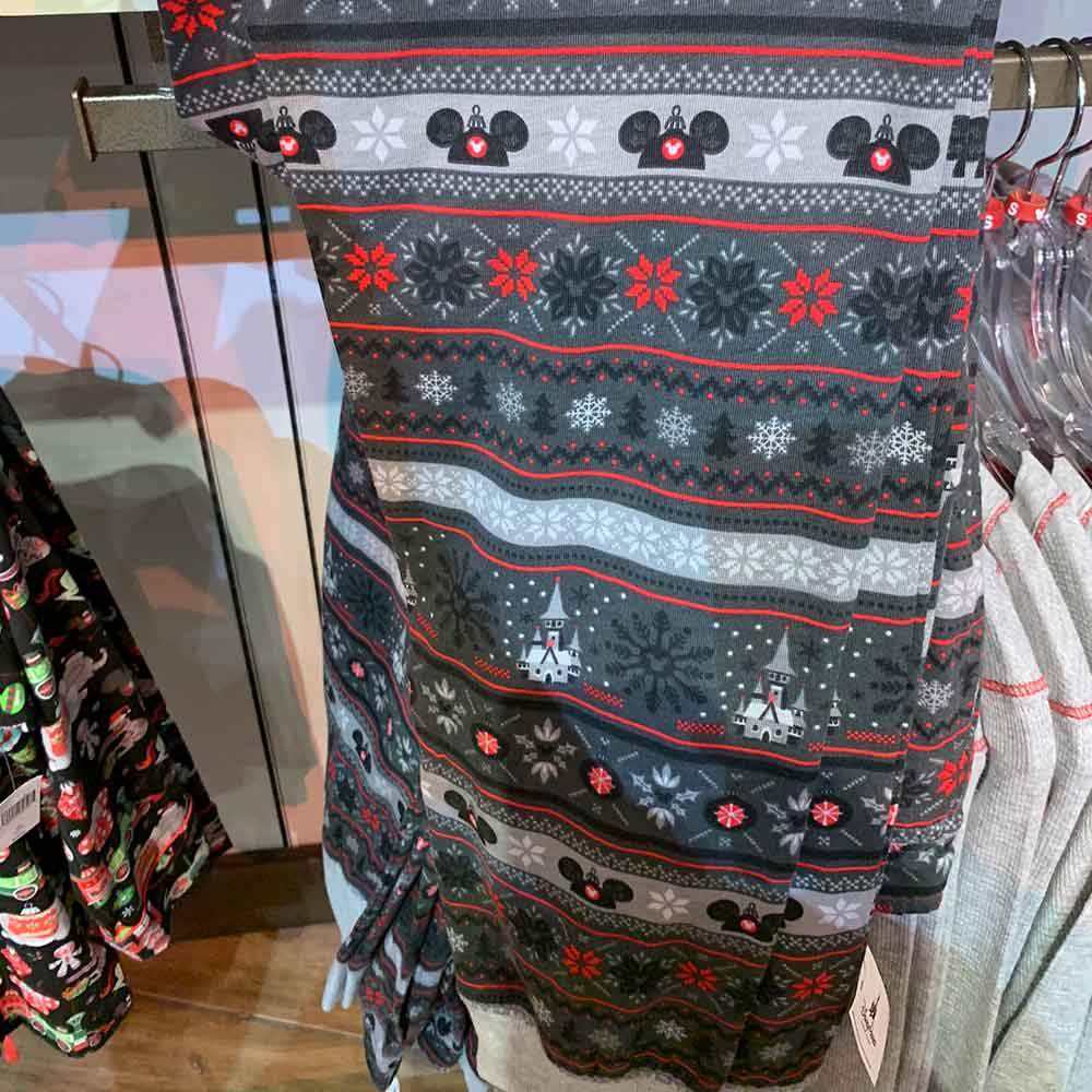 Adult Cozy Grey Christmas Pattern Pajama Pants from the 2018 Disney Christmas Apparel Collection | Mouse Memos Disney Blog