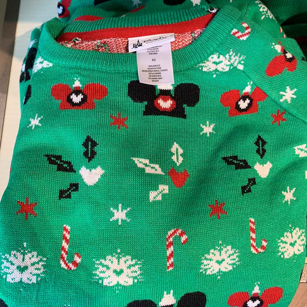 Green Christmas Pattern Sweater from the 2018 Disney Christmas Apparel Collection | Mouse Memos Disney Blog