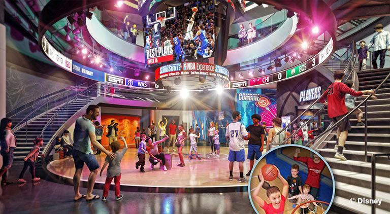 Artist Rendering inside of NBA Experience at Disney Springs   Mouse Memos Disney Blog