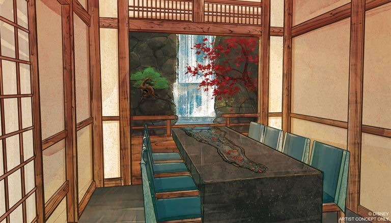 Artist Concept of the Water Room at the New Epcot Japan Pavilion Restaurant Takumi-Tei | Mouse Memos Disney Blog