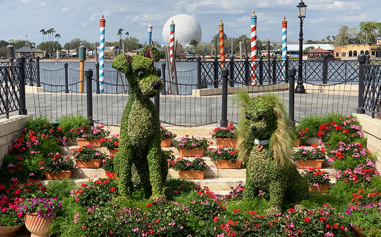 Lady and the Tramp Topiary 2019 Epcot Flower and Garden Festival Topiaries | Mouse Memos Disney Blog