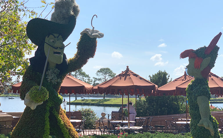 Peter Pan and Captain Hook Topiary 2019 Epcot Flower and Garden Festival Topiaries | Mouse Memos Disney Blog