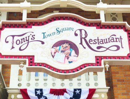 The main entrance sign of Tony's Town Square Restaurant in Disney World's Magic Kingdom Theme Park