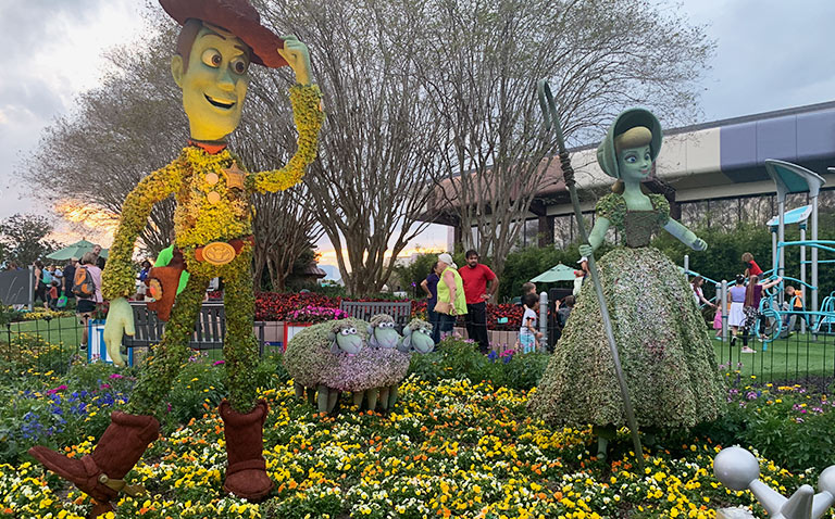 Woody and Bo Peep Topiary 2019 Epcot Flower and Garden Festival Topiaries | Mouse Memos Disney Blog